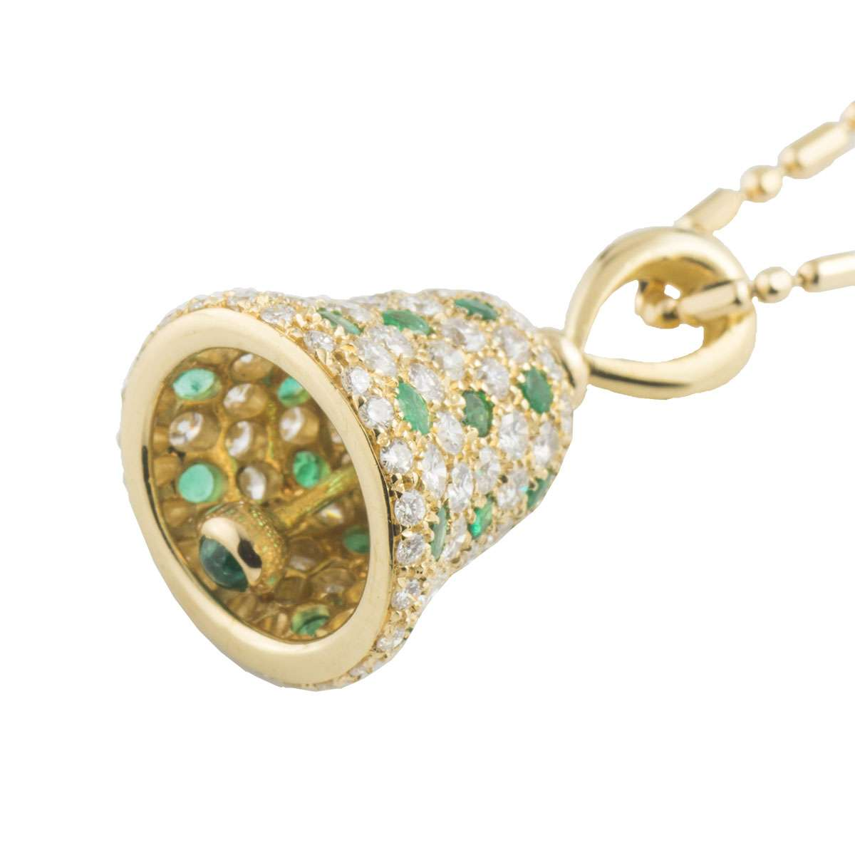 Yellow Gold Diamond and Emerald Bell Pendant